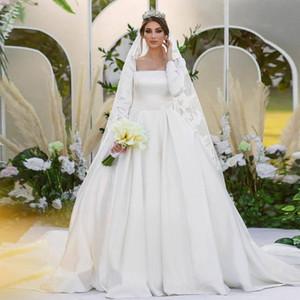 Simple Square Neck Wedding Dresses 2021 Long Sleeve Satin Bridal Gown Princess Country Vestidos De Noiva