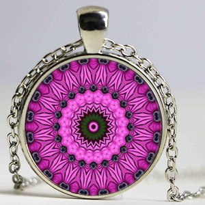 vintage spiral fractal necklaces & pendant mandala henna yoga necklace India style jewelry om symbol buddhism zen