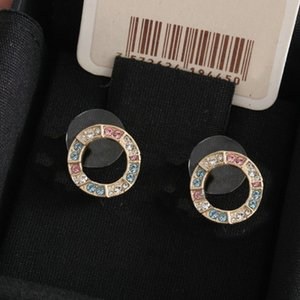 Fashion Colored diamonds hoop stud earrings for lady Women Party Wedding Lovers gift engagement Jewelry for Bride with box