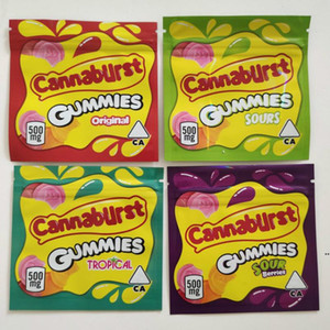 500 mg Baies acides Tropical Cannaburst Candy Soures Candy Emballage Sac Cross-Bordure Sacs Sacs Cookies Vente à chaud Gummies Sacs HWC6312