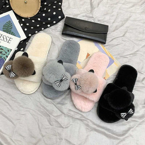 2020 New Winter Home Slippers Women Warm Cotton Lovely Fabric Slipper Indoor Mute Non Slip Bear Ears Flat Women Shoes Fur Slides 68A0#