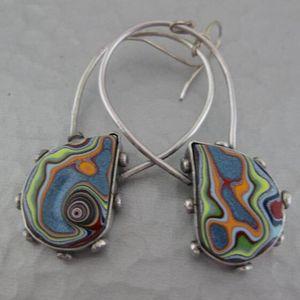 Dangle & Chandelier Fashion Multi-colors Pattern Water Drop Earrings Bohemian Colorful Stone Statement For Women Jewelry