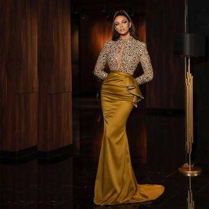 Luxury 2021 Beading Mermaid Evening Dresses Keyhole Neck Long Sleeve Arabic Dubai Pageant Gown Satin Peplum Long Prom Dress