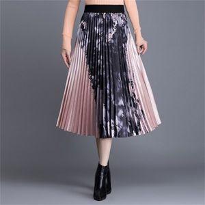 Fashion Summer Women High waist Ink printing Skirt Long Pleated s s Vintage Midi 210603
