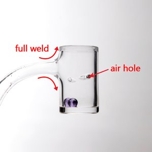 21 new Beveled Edge Full Weld real Quartz Banger With 2pcs air Holes 25mmOD Male Female 10mm14mm Quartz Nails For Glass Water Bongs Dab Rigs