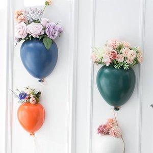 Nordic Ins Yaratıcı Seramik Balon Duvar Asılı Saksı Çocuk Odası Duvar Asılı Çiçek Vazolar Ev Dekorasyon Hediyeler