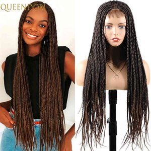 30 Inch Long Braided Box Braids Ombre Brown Synthetic Lace Front Wigs with Baby Hair High Temperature Cosplay Wig for Women