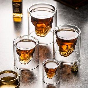 4pc / set Skull Head Cup Taza Doble Café Café Whisky Vodka Vino Taza Viaje Linda Navidad Tazas Vaso Tiro Copa de Leche de Vidrio Bulk Y0219