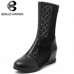 Bonjomarisa Nuovo 33 43 Ladies Elegante Altezza Aumento Stivali estivi Stivali da maglia traspirante Stivali da maglia Donne 2020 Scarpe comfort Donna G55Q #