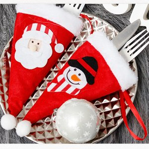 Cute Christmas Tableware Holder Bag Christmas Dining Table Decorations Knife Fork Bag Lovely Santa Snowman Small Cutlery Cover GWF10532