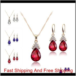 Crystal Diamond Water Drop Necklace Earrings Jewelry Sets Gold Chain Necklace For Women Fashion Wedding Jewelry Sets Will And Sandy Hx Ftzca