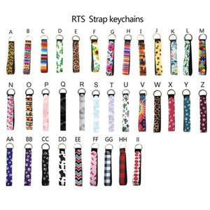 Néoprène Wristlet Keychains Lanyard Serape Prints Bande Sangle Bague Split Bague Porte-chaîne porte-poignets Key Lanière de lanière pour filles / Femmes