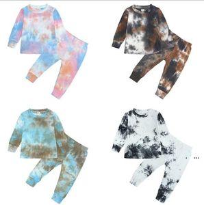 Abbigliamento per bambini Set Pantaloni Rilassamento Pantaloni di cotone Tie-Dye Pit-Strip Stife Bambini Pantaloni solidi Ragazzi e ragazze Abbigliamento Abbigliamento moda EWB5125