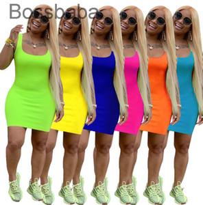 Tasarımcılar Kadın Yaz Elbise Mini Etek Kolsuz Tek Parça Elbise Parti Gece Kulübü Artı Boyutu Bayan Giyim 826