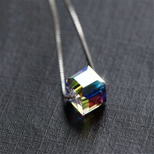 HBP fashion Austrian Crystal Necklace S925 Sterling Silver luxury colorful super flash rainbow clavicle chain