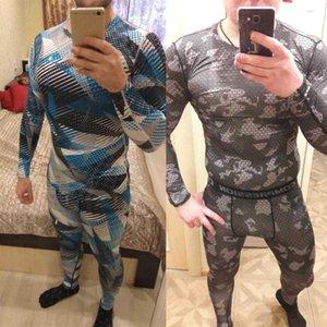 Camouflage Cousssuit Мужчины Rashgarda MMA с длинными рукавами футболка мужская сжатие костюм фитнес-рубашка термическое нижнее белье Slim Joggers X0601