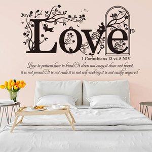 DHL 1 Korintliler 13 V 4-8 NIV Hıristiyan İncil Ayet Duvar Sticker Yatak Odası Oturma Odası Din Aile Aşk Alıntı Duvar Çıkartması Vinil