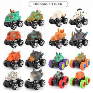 4pcs Mini Inertial Off-road Vehicle Pullback Children Toy Car Plastic Friction Stunt Car Juguetes Carro Kids Toys Dinosaur Truck