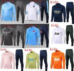 2020 2021 Çocuklar Gerçek Madrid Ajax Eğitim Marseilles Takım Eşofman Ceket Setleri 20 21 Futbol Eğitimi Futbol Eşofman Jogging