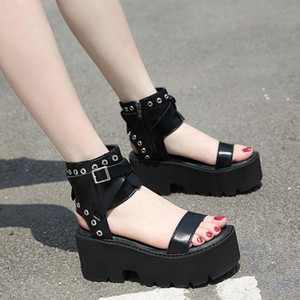 Beige Heeled Sandals Wedge Fashion Womens Shoes 2021 Muffins shoe Black Platform Thick Luxury Girls Comfort High Flat Buck