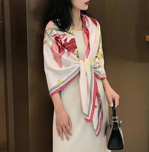 Fashion Scarves for Women Colors Print Satin Silk Scarf Female 130*130cm Square Shawl Bandana for Head Large Hijab Scarfs Ladies