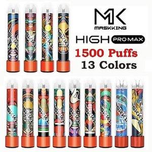 Masking Yüksek Pro Max Tek Kullanımlık Vape Kalem Sigaralar 1500 Puffs 4.5ml Kapasiteli 850mAh Pil 13 Renk VS XXL