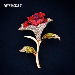 Pins, Brooches Vintage Crystal Rose Women's Rhinestone Enamel Flowers Wedding Banquet Brooch Pins High Quality Christmas Gift