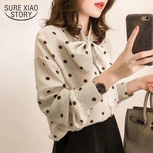 Moda donna Top e camicette 2021 Camicia a maniche lunghe Donne Chiffon Camicetta Camicia Dot Print Plus Size Feminina 1206 40