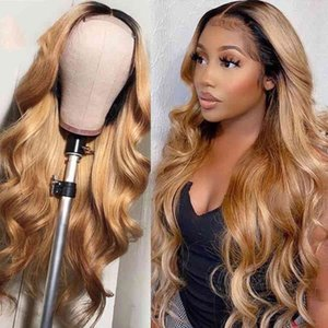 250%Density 1B27 Wave Hu Wigs with Baby Hair Preplucked Ombre Honey Blonde Brazilian Remy Lace Front Wig