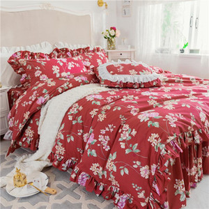 Luxury Cotton flowers Bedding Set Twin Queen King size Bed set red Duvet Cover old furniture bed skirt pillowcase bedclothes