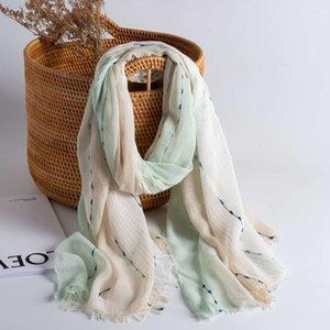 summer thin Korean shawl sun versatile neck protection spring and autumn cotton hemp style long silk Scarf
