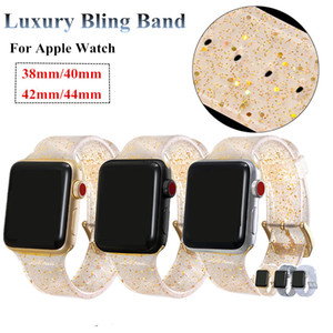For Apple Watch Strap 42mm 44mm Clear Silicone Glitter Watch 38mm 40mm Band For iWatch Series 4 3 2 1