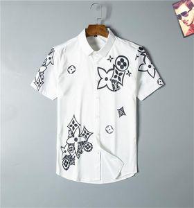 Luxus Designer Mode Trend Herren Casual Shirt Schwarzweiss Kurzarm Kleid Hemd Frühling und Herbst Herbst Kleid Shirt Business # 03
