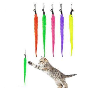Замена игрушек Cat Wand Flush Plush Worms Pet Interactive Toy Colorful Teaser Refills с Bell для котенка JK2012XB