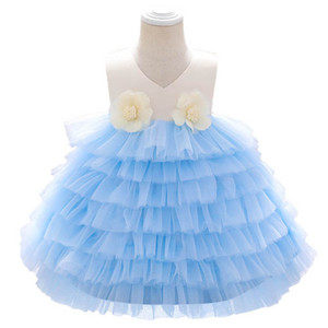 2021 New Flower Baby Girl Dress 1st Birthday Dress For Baby Girl Dresses Princess Pageant Dresses Tiered Skirts 0-6Y Kids Clothes B3813