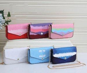 여자 지갑 클래식 체인 핸드백 인쇄 꽃 어깨 가방 PU 가죽 크로스 바디 봉투 카드 3 피스 지갑