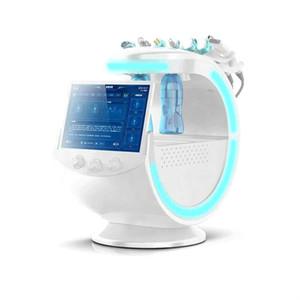 Muhtemel Buz Mavi Ultrasonik RF Aqua Cilt Scrubber Anti-kırışıklık Hydraoxygen Dermabrazyon Yüz Cilt Analizörleyici Temizleme Makinesi