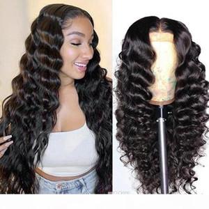 Высокое качество бразильцы 4 * 4 кружева закрытие парики прямые предварительно сорванные человеческие волосы парики 150% плотность кружевной парик с младенческими волосами индийские перуанские волосы