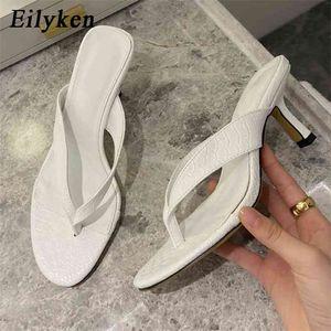 Eilyken Brand Women Slipper Summer Outdoor Sandal Slip On Flip Flop Ladies Thin High Heels Slides Elegant Shoes 210903