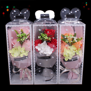 mother's day gift 3pcs soap rose flower bouquet sets birthday valentine's day mother's days gift for girl