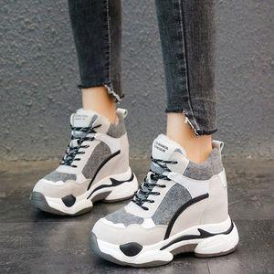 Rimocy Fashion Womens Chunky Sneakers de invierno espesar Plataforma de peluche Botas de nieve Mujer Altura Aumento de zapatos casuales Mujer 2019 A7PJ #