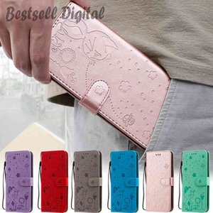 Fashion Cat bee flower Leather Phone Case For Samsung Galaxy A01 A11 A21 A21S A31 A41 A51 A71 M21 M11 M01 M51 M31S M30 Wallet Back Cover