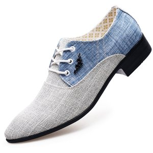 2021 Canvas Derby Shoes Mens Dress Shoes Wedding Canvas Casual Flats Male Formal Footwear Mixcolor Loafers Chaussures Hommes