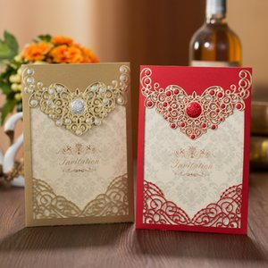 1pcs Red Gold Laser Cut Crown Flora Wedding Invitations Card Greeting Card Customize Wedding Decoration Event Party Supplies