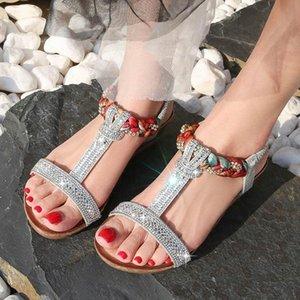 Эластичная полоса Rome Sandals Женская летняя пляжная вечеринка Bling повседневная обувь Женский большой размер кристалл сандалии на высоком каблуке Богемия Сандалии Q0HZ #