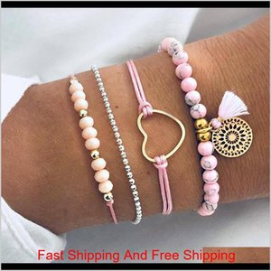 4 Pcs Set Women'S Delicate Pink Gem Beads Love Heart Tassel Geometry Pendant Bracelet Set Bohemian Charm Jewelry Accessories Vqkv6 Xuny6