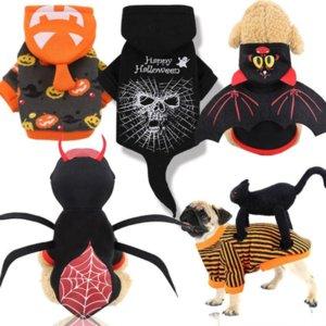 EU estoque inverno halloween animal de estimação cão roupas para o natal cosplay apperal santa coral veludo transfiguração trajes casaco cães hoodies para ano novo