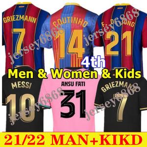 Fussball Jersey Barca 20 21 Camiseta de Futbol 4. Ansu Fati 2021 Messi Griezmann F.de Jong Pjanic Männer Frauen Kids Kit Football Hemd