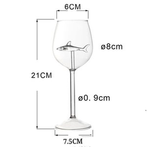 Fashion Standing Cups Shark Originality Transparent Elegance Long Stemmed Glasses Woman Man Drinking Tools Goblet AHD5128