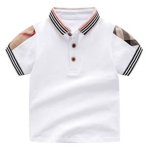 Vente au détail d'été bébé garçons filles t-shirts coton enfants manches courtes t-shirt de haute qualité enfants col collier t-shirt à carreaux vêtements enfants vêtements